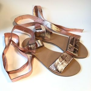 ASOS pink/ rose gold wrap sandals/ 6